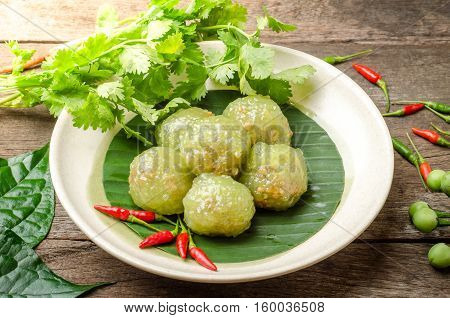 Tapioca balls with pork filling on dish. Thai Dessert.