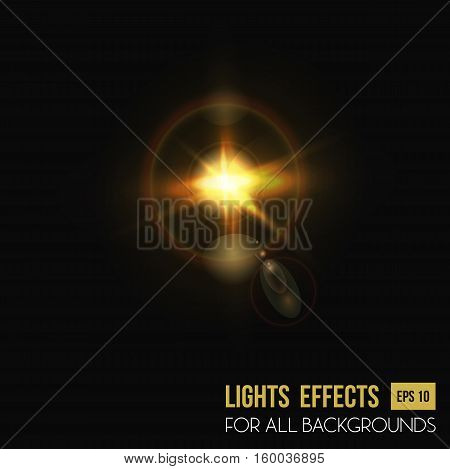 Camera lens flare background, sun light effect. Glowing halo light effect or lens burst effect for flyer background. For sun flare poster or sunlight from sunrise backdrop, abstract star light
