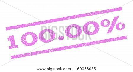 100.00 Percent watermark stamp. Text tag between parallel lines with grunge design style. Rubber seal stamp with dirty texture. Vector violet color ink imprint on a white background.