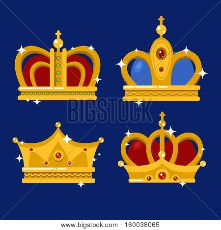 Set of gold king crown or pope tiara. Royal crown for queen or princess, prince or emperor in vintage or retro style. May be used for coronation or old royalty, jewelry theme, heraldic medieval crown