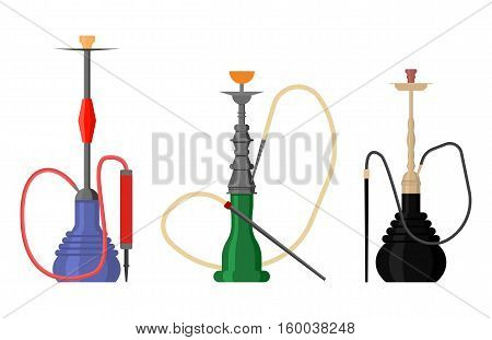 Set of hookah with pipe for tobacco smoke. Nargila or hubbly bubbly smoking accessory, east nargile or turkish shisha or arabic sheesha, hookah water pipe. For hookah bar logo or lounge banner