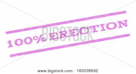 100 Percent Erection watermark stamp. Text caption between parallel lines with grunge design style. Rubber seal stamp with dirty texture. Vector violet color ink imprint on a white background.