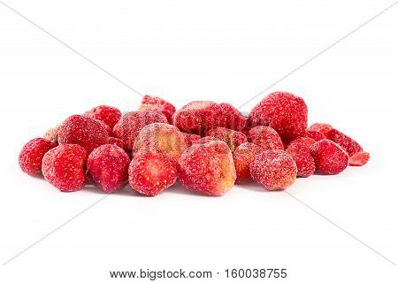 tropical ripe strawberries frozen for long term storage