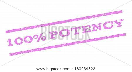 100 Percent Potency watermark stamp. Text tag between parallel lines with grunge design style. Rubber seal stamp with unclean texture. Vector violet color ink imprint on a white background.