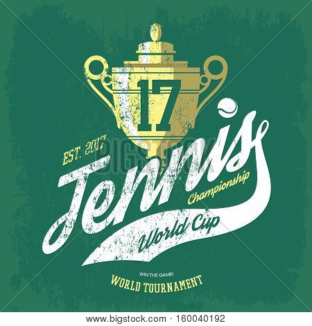 Tennis cup or trophy and flying ball banner for t-shirt or sportswear shirt, gear. Tournament tennis team print. Ideal for tennis team logo or sport club or center badge, athletic sportswear brand