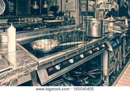 Professional kitchen interior, toned image