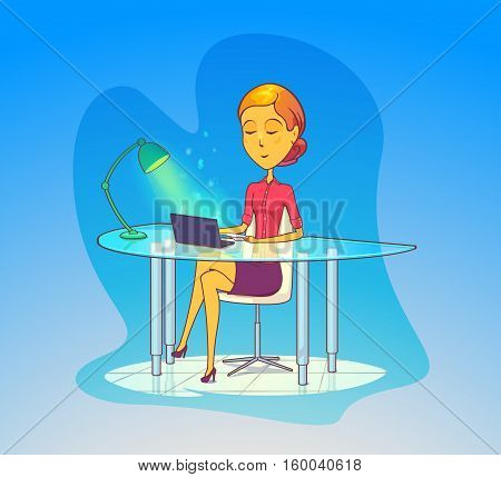 Woman working at office, secretary with notebook. Businesswoman work on computer or laptop, woman manager at table, secretary typing. May be used for woman at workplace, attractive secretary