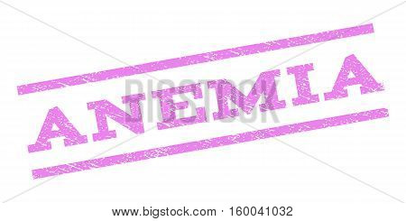 Anemia watermark stamp. Text tag between parallel lines with grunge design style. Rubber seal stamp with dirty texture. Vector violet color ink imprint on a white background.