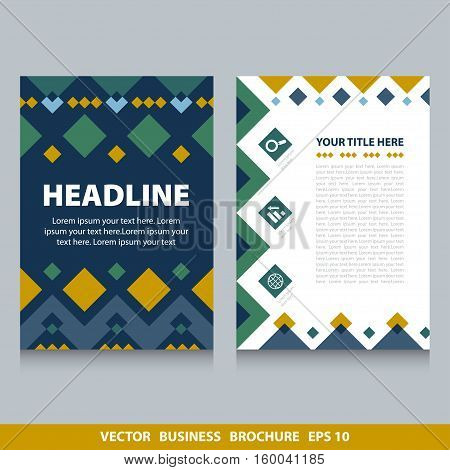 Vector flyers brochure with rhombs and icons. Stock vector template easy to use. Size A4. Eps 10