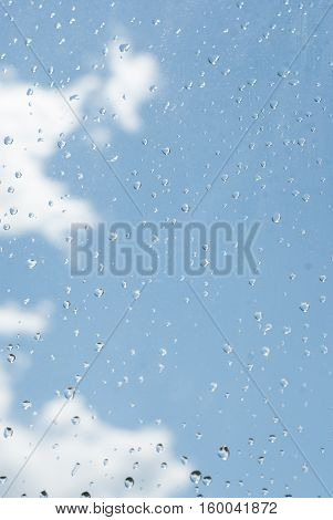 Raindrops Od Window Glass With Blue Sky And White Cloud As Background
