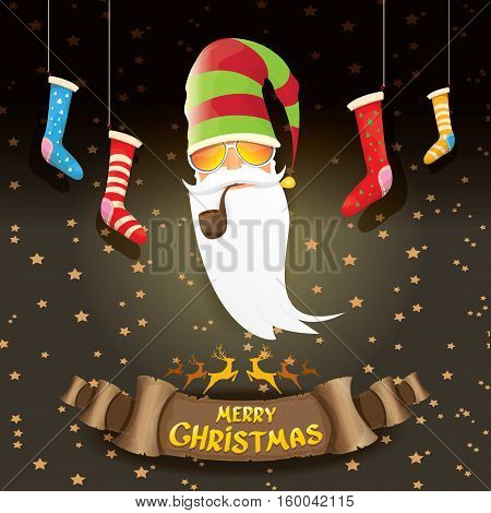 vector bad rockstar rock n roll dj santa claus with smoking pipe, funky beard and golden greeting calligraphic text on old vintage paper banner ribbon.. Christmas party hipster poster background .