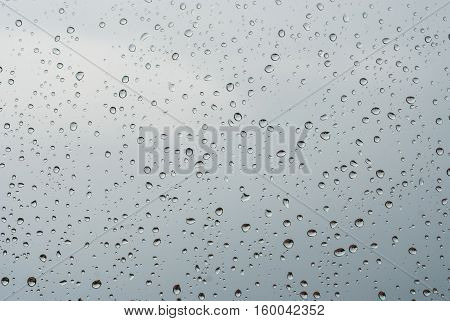 Raindrops Od Window Glass With Cloudy Sky As Background