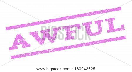 Awful watermark stamp. Text tag between parallel lines with grunge design style. Rubber seal stamp with scratched texture. Vector violet color ink imprint on a white background.