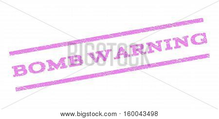 Bomb Warning watermark stamp. Text tag between parallel lines with grunge design style. Rubber seal stamp with scratched texture. Vector violet color ink imprint on a white background.