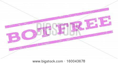 Bot Free watermark stamp. Text tag between parallel lines with grunge design style. Rubber seal stamp with dirty texture. Vector violet color ink imprint on a white background.