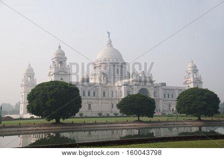 Victoria Memorial in Kolkata India and the garden
