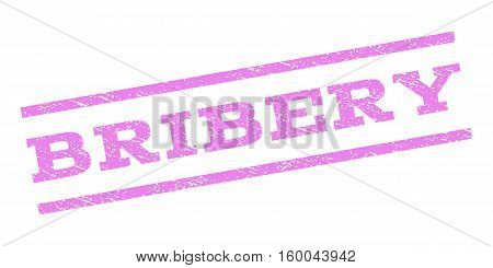 Bribery watermark stamp. Text tag between parallel lines with grunge design style. Rubber seal stamp with unclean texture. Vector violet color ink imprint on a white background.