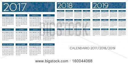 Spanish textured blue calendar vector year 2017-2018-2019