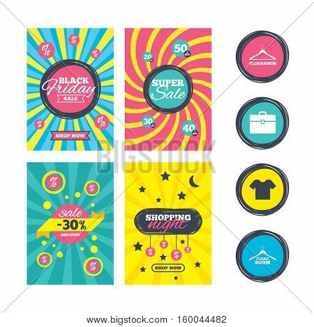 Sale website banner templates. Cloakroom icons. Hanger wardrobe signs. T-shirt clothes and baggage symbols. Ads promotional material. Vector