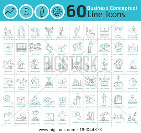 Set of business conceptual thin line icons collection. Modern business elements thin line icons set for graphics and web designers. Collection flat line icons. Vector illustrations.