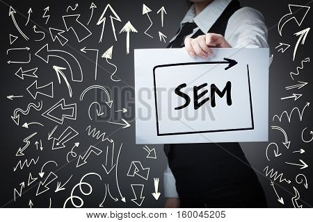 Technology, Internet, Business And Marketing. Young Business Woman Writing Word:sem