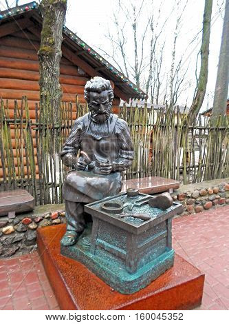 Shoemaker, a small sculpture in the city of Vitebsk, Belarus
