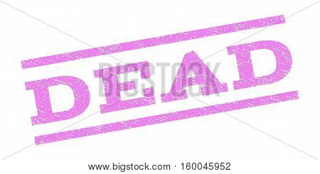 Dead watermark stamp. Text tag between parallel lines with grunge design style. Rubber seal stamp with unclean texture. Vector violet color ink imprint on a white background.