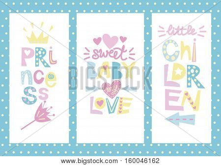 Three Kidss layout with labels Princess, Baby, Love, Children. Child background
