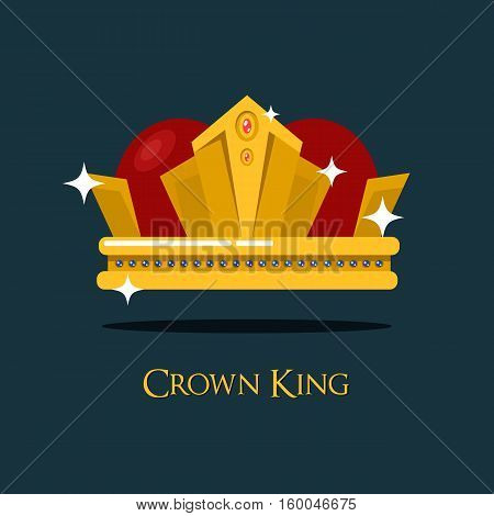 Pope tiara or king, queen royal crown icon. Old princess or prince crown. May be used for emperor vintage crown, game award and jewelry, heraldry and wealth theme, king crown sign