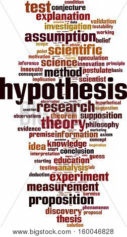 Hypothesis word cloud concept. Vector illustration on white