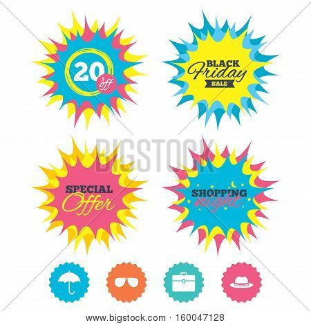 Shopping night, black friday stickers. Clothing accessories icons. Umbrella and sunglasses signs. Headdress hat with business case symbols. Special offer. Vector