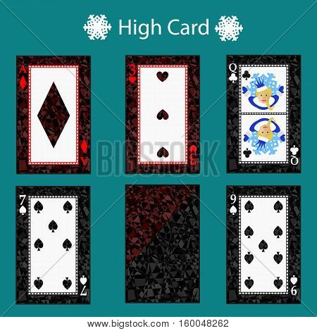 high card Poker hand ranking combinations. Poker cards set. Isolated cards on green background. Playing cards set.