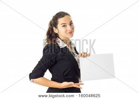 cutie young brunette business woman in uniform with white placard in hands isolated on white background