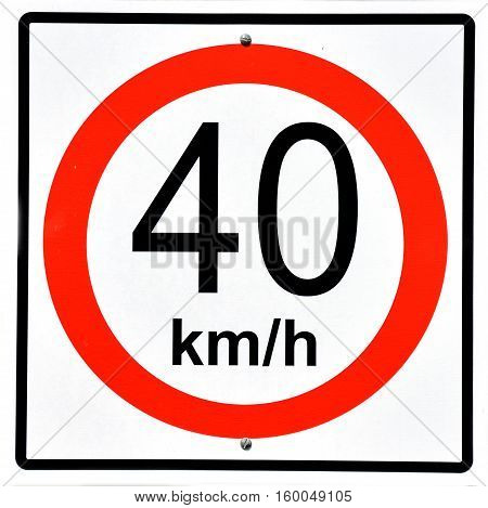 Macro shot of a road speed sign signaling speed limit of 40 KMS