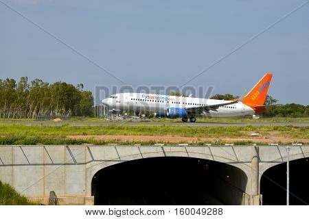 RIO HATO AIRPORT PANAMA-JULY 3 2015: A Sunwing Airline 737-800 jet from Canada about to take off from the new International Airport of Rio Hato in the central part of Panama.