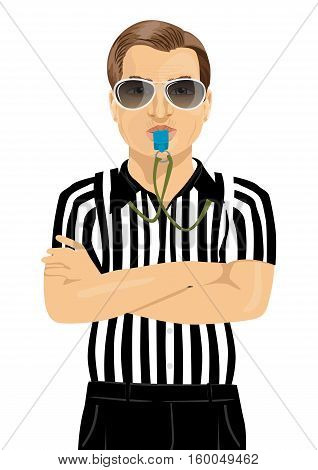 referee with sunglasses blowing whistle standing with arms folded over white background