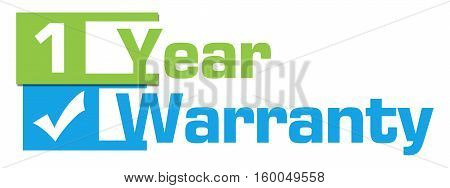 One year warranty concept image with text over green blue background.