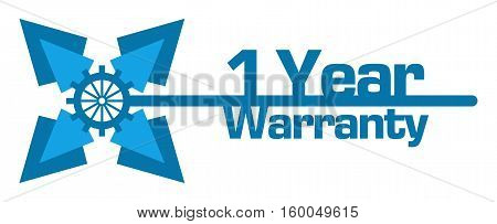 One year warranty concept image with text over blue background.