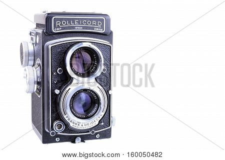 PANAMA PANAMA - JULY 11 2015:The Rolleicord was a popular medium-format twin lens reflex camera made by Franke & Heidecke between 1933 and 1976. Old Rolleicord TLR camera isolated on a white background