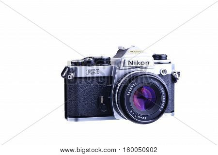 PANAMA PANAMA - JULY 30 2015: The Nikon FE2 is an advanced semi-professional level interchangeable lens 35 mm film single lens reflex camera. It was manufactured by Nippon Kogaku K. K. (Nikon Corporation since 1988) in Japan from 1983 to 1987
