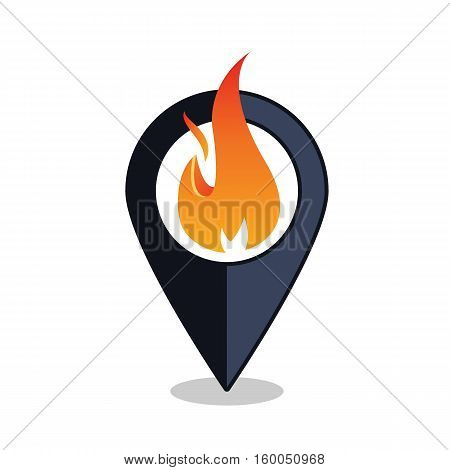 Flame Point - Map Pointer With Fireplace Sign - Map pointer With Fire Alarm - Isolated Vector