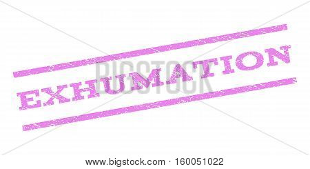 Exhumation watermark stamp. Text tag between parallel lines with grunge design style. Rubber seal stamp with unclean texture. Vector violet color ink imprint on a white background.