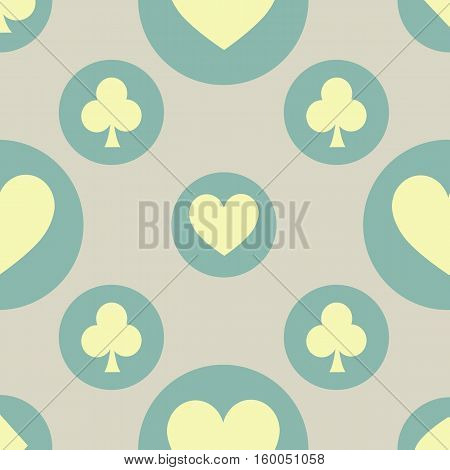 seamless pattern. EPS 10 vector illustration. used for printing websites design interior fabrics etc. hearts and clubs card suit on green circles on a red background
