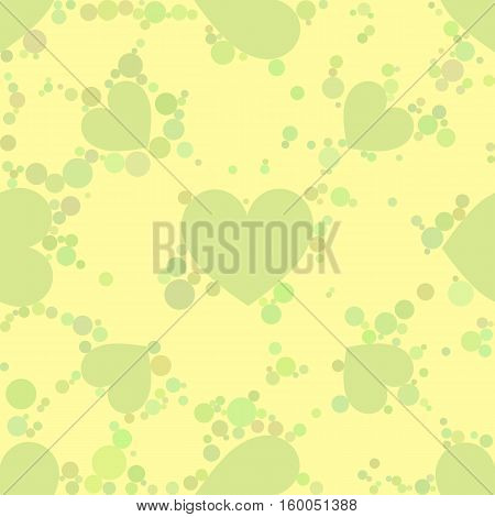 seamless pattern. EPS 10 vector illustration. used for printing websites design interior fabrics etc. spades and a green card heart suit on a yellow background with dark circles.