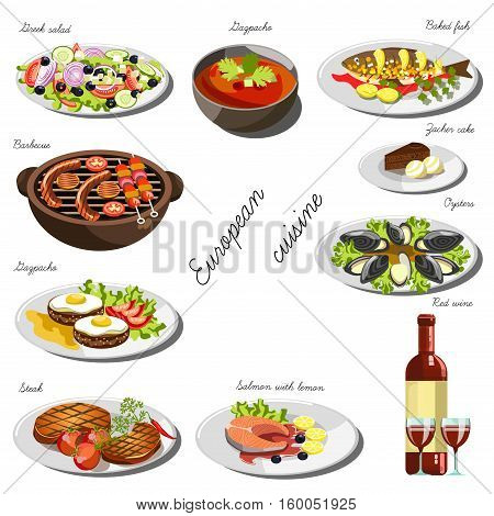 European cousine set. Collection of food dishes for the decoration of restaurants, cafes, menus. Vector Illustration. Isolated on white.