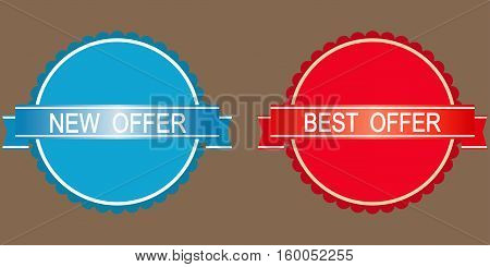 New hot offer stickers in blue and red tones