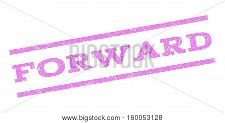Forward watermark stamp. Text caption between parallel lines with grunge design style. Rubber seal stamp with unclean texture. Vector violet color ink imprint on a white background.