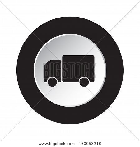 isolated round black and white button with black lorry car icon