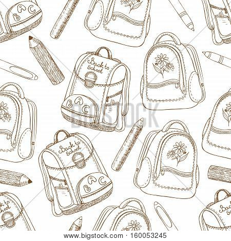 Vector hand drawn seamless pattern with pen pencils and schoolbags on a white background