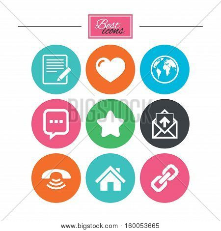 Mail, contact icons. Favorite, like and internet signs. E-mail, chat message and phone call symbols. Colorful flat buttons with icons. Vector
